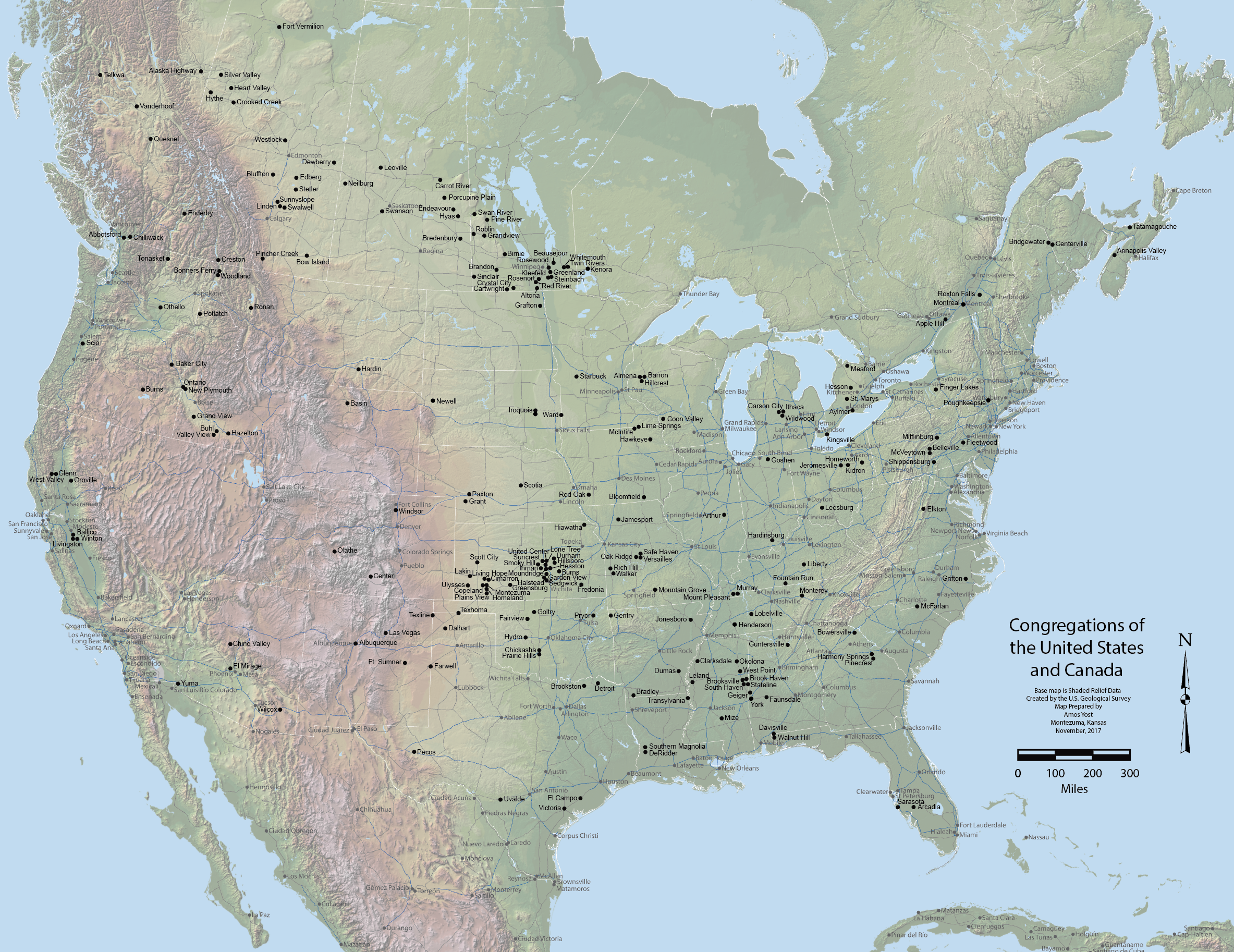 Map Showing U.S.And Canada Wall Map, Congregations of the United States and Canada | Gospel